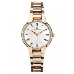 Accurist Ladies Signature Rose Gold Plated Mother Of Pearl Dial Bracelet Watch 8221