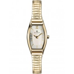 Accurist Ladies Gold Plated Curved Silver Dial Expandable Bracelet Watch 8277