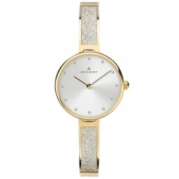 Accurist Ladies Gold Plated Silver Dial Glitter Semi Bangle Bracelet Watch 8288