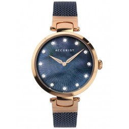 Accurist Ladies Contemporary Rose Gold Plated Blue Mother Of Pearl Dial Mesh Strap Watch 8305