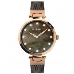 Accurist Ladies Contemporary Rose Gold Plated Brown Mother Of Pearl Dial Mesh Strap Watch 8307