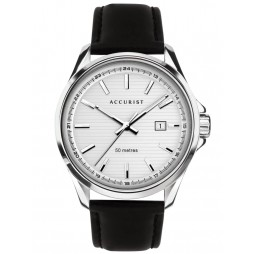 Accurist Mens Contemporary White Date Dial Black Leather Strap Watch 7287