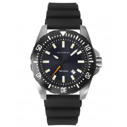Accurist Mens Divers Style Black Date Dial Rubber Strap Watch 7307