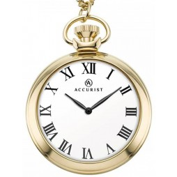 Accurist Mens Gold Plated White Dial Open Case Pocket Watch 7213