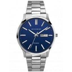Accurist Mens Classic Blue Day Date Dial Stainless Steel Bracelet Watch 7302