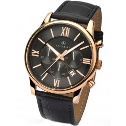 Accurist Mens Chronograph Black Strap Watch 7095