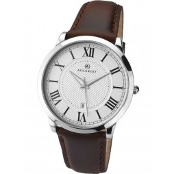 Accurist Mens Brown Leather Strap Watch 7096