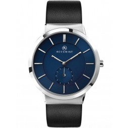 Accurist Mens Blue Dial Black Leather Strap Watch 7100
