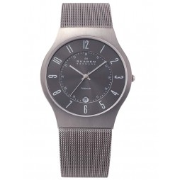 Skagen Titanium Mesh Round Grey Dial with Date Watch 233XLTTM