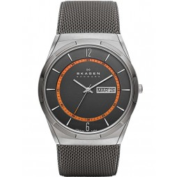 Skagen Titanium Grey Mesh Black And Orange Watch SKW6007