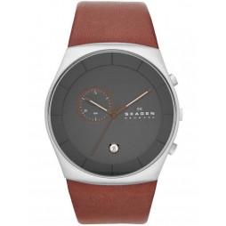 Skagen Mens Klassik Steel Brown Strap Watch SKW6085