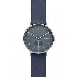 Skagen Mens Aaren Grey Dial Blue Leather Strap Watch SKW6469