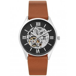Skagen Mens Holst Automatic Black Skeleton Dial Brown Leather Strap Watch SKW6613