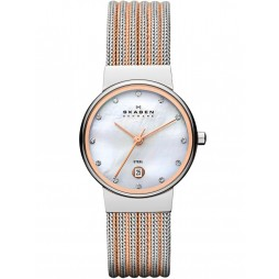 Skagen Ladies Mesh Mother Of Pearl Dial Watch 355SSRS