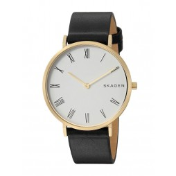 Skagen Hald Gold-Plated Black Strap Watch SKW2678