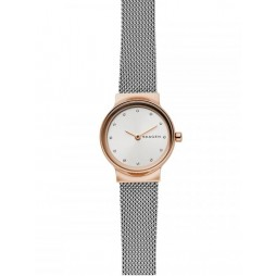 Skagen Ladies Freja Two Colour Rose Gold Plated Mesh Bracelet Watch SKW2716