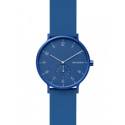 Skagen Ladies Aaren Kulor Stainless Steel Dark Blue Rubber Strap Watch SKW6508