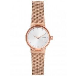 Skagen Ladies Freja Rose Gold Plated Sunray Crystal Set Dial Mesh Strap Watch SKW2665