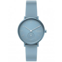 Skagen Ladies Aaren Kulor Stainless Steel Light Blue Rubber Strap Watch SKW2764