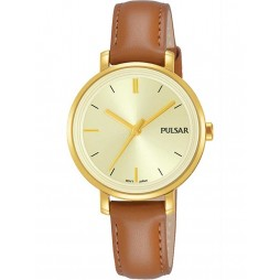 Pulsar Ladies Gold Plated Brown Attitude Watch PH8364X1