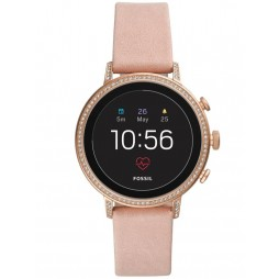 Fossil Ladies Rose Gold Plated Gen 4 Venture Blush Leather Strap Smartwatch FTW6015