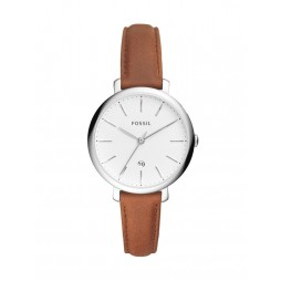 Fossil Ladies Jacqueline Stainless Steel White Date Dial Brown Leather Strap Watch ES4368