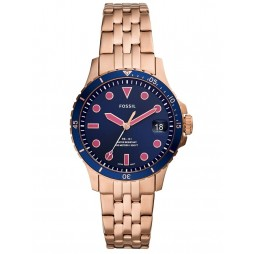 Fossil Ladies FB-01 Rose Gold Plated Navy and Pink Dial Bracelet Watch ES4767