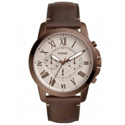Fossil Mens Grant Brown Strap Watch FS5344