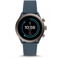Fossil Mens Sport Smokey Blue Rubber Strap Smartwatch FTW4021