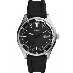 Fossil Mens Belmar Date Dial Black Rubber Strap Watch FS5535