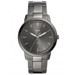Fossil Mens Minimalist Stainless Steel Grey Dial Smoke Bracelet Watch FS5459