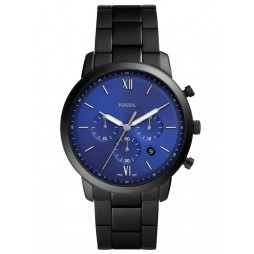 Fossil Mens Neutra Stainless Steel Blue Chronograph Dial Black Bracelet Watch FS5698