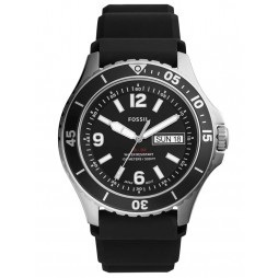 Fossil Mens FB-02 Stainless Steel Day Date Dial Black Rubber Strap Watch FS5689