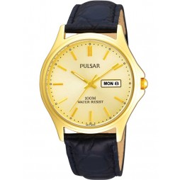 Pulsar Mens Gold Dial Watch PXD296X1