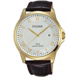 Pulsar Mens Dress Gold Plated Strap Watch PS9446X1