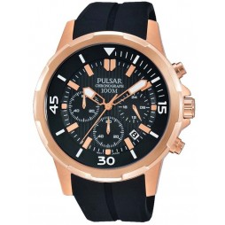 Pulsar Mens Rose Gold Black Watch PT3716X1