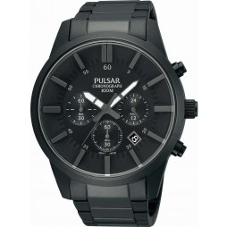 Pulsar Mens Black Chronograph Watch PT3345X1