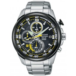 Pulsar Mens Solar Powered Chronograph Bracelet Watch PZ6003X1