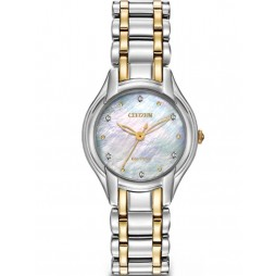 Citizen Ladies Silhouette Diamond Two Tone Bracelet Watch EM0284-51D