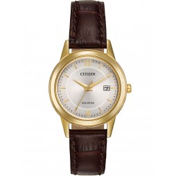 Citizen Ladies Corso Brown Leather Strap Watch FE1082-05A