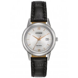 Citizen Ladies Corso Black Leather Strap Watch FE1086-04A