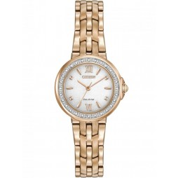 Citizen Ladies Eco-Drive Rose Gold Plated Diamond Bracelet Watch EM0443-59A
