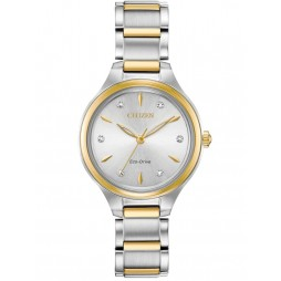 Citizen Ladies Silhouette Diamond Silver Dial Two Tone Stainless Steel Bracelet Watch FE2104-50A