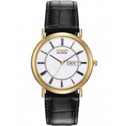Citizen Mens Stiletto Gold Plated Black Leather Strap Watch BM8242-16A