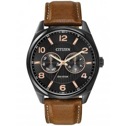 Citizen Mens Corso Day-Date Brown Leather Strap Watch AO9025-05E