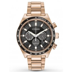 Citizen Mens Sport Rose Gold Plated Chronograph Bracelet Watch CA4203-54E