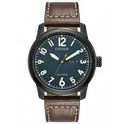 Citizen Mens Chandler Military Brown Leather Strap Watch BM8478-01L