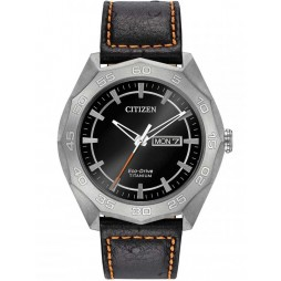Citizen Mens Eco-Drive Super Titanium Leather Strap Watch AW0060-03E
