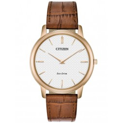 Citizen Mens Stiletto Brown Leather Strap Watch AR1133-15A