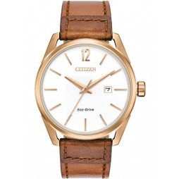 Citizen Mens CTO Brown Leather Strap Watch BM7413-02A